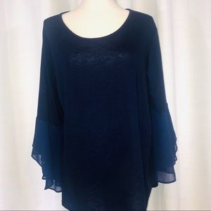 In studio blue peasant long sleeve blouse size 3X